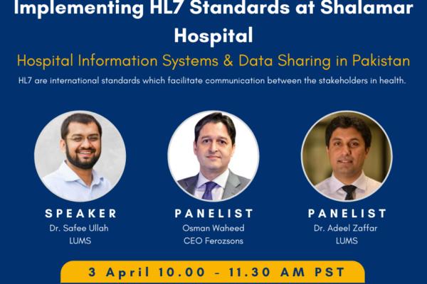 1st PHRG Webinar – Implementing HL7 Standards at Shalamar Hospital